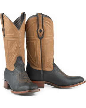 Stetson Men's Black Billings Shark Leather Western Boots - Square Toe , Black, hi-res