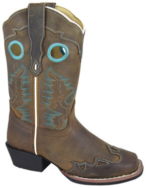 Smoky Mountain Girls' Eldorado Western Boots - Square Toe, Brown, hi-res
