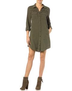 Miss Me Olive Embroidered Shirt Dress, , hi-res