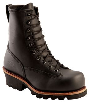 "Chippewa Men's Lace-Up 8"" Logger Boots - Composition Toe, Black, hi-res"