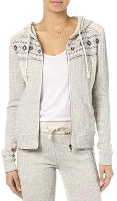 Miss Me Women's Heather Grey Crochet Hoodie , , hi-res