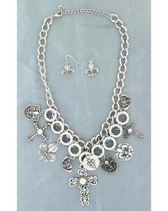 Blazin Roxx Cross and Fleur De Lis Charm Necklace & Earrings Set, , hi-res