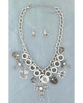 Blazin Roxx Cross and Fleur De Lis Charm Necklace & Earrings Set, Silver, hi-res