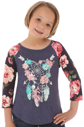 Wrangler Girls' Dreamcatcher Raglan Shirt, Multi, hi-res