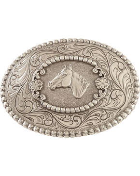 Nocona Horsehead Belt Buckle, Silver, hi-res
