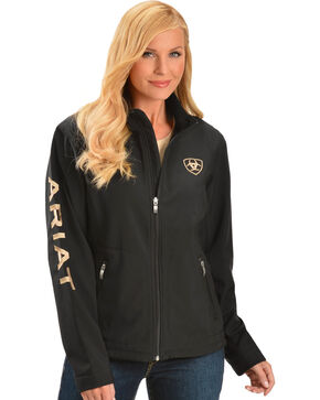 Ariat Team Logo Soft Shell Jacket, Black, hi-res