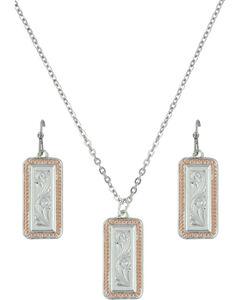 Montana Silversmiths Crosscut Floral Jewelry Set, , hi-res