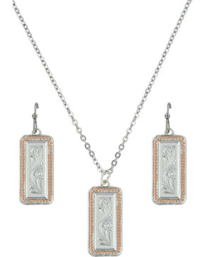 Montana Silversmiths Crosscut Floral Jewelry Set, Multi, hi-res