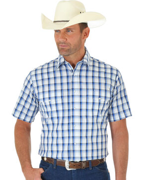 Wrangler Wrinkle Resist Men's Blue & White Plaid Short Sleeve Western Shirt , White, hi-res