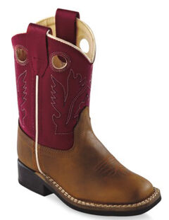 Old West Toddler Boys' Red Cowboy Boots - Square Toe, , hi-res