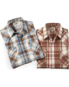 Ely Cattleman Men's Assorted Lurex Plaid Shirt , Multi, hi-res
