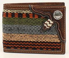 Nocona Fabric and Rawhide Knot Bi-Fold Wallet, , hi-res