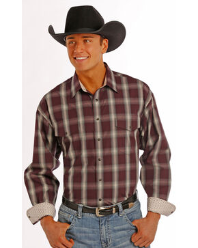 Panhandle Slim Men's Burgundy Plaid Snap Western Shirt , Burgundy, hi-res