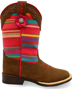 Blazin Roxx Girls' Camilla Serepa Boots - Square Toe , Medium Brown, hi-res