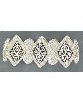 Blazin Roxx Embellished Diamond-shaped Concho Stretch Bracelet, Silver, hi-res