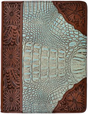 3D Turquoise & Brown Leather Gator Print with Floral Tooling iPad Case, Multi, hi-res