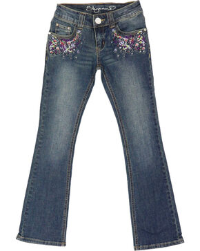 Shyanne® Girls Floral Embroidered Boot Cut Jeans, Blue, hi-res