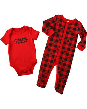 Cody James Infants' Lil' Buckaroo Onesie Set, Red, hi-res