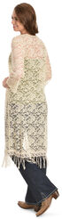 Young Essence Women's Cream Lace Long Cardigan, Beige, hi-res