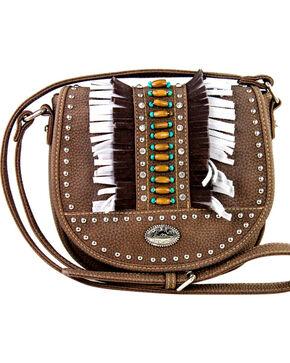 Montana West Women's Indian Bead Fringe Messenger Bag , Brown, hi-res