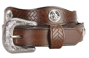 Exclusive GibsonTrading Co. Kids' Scallop Belt with Conchos, Brown, hi-res