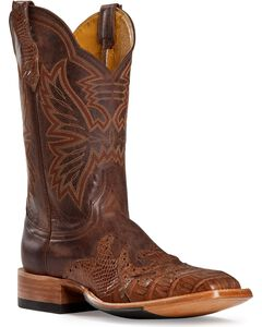 Cinch Classic Caiman Wingtip Overlay Cowgirl Boots - Square Toe, , hi-res