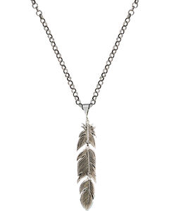 Montana Silversmiths Antiqued Silver Plume Feather Necklace, , hi-res