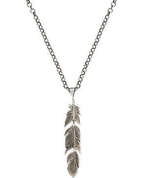 Montana Silversmiths Antiqued Silver Plume Feather Necklace, Antique Silver, hi-res