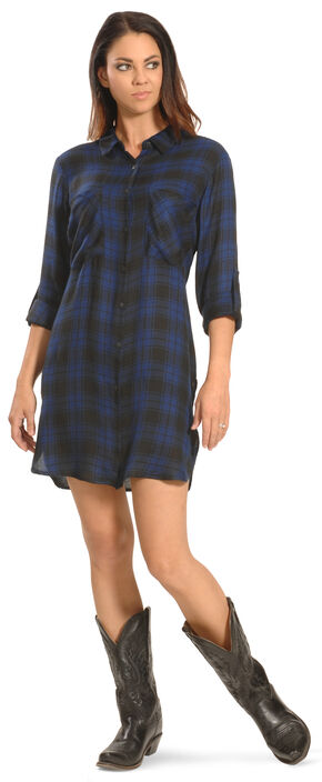 New Direction Women's Blue Plaid Shirt Dress , Blue, hi-res