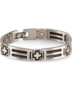 Sabona Cross Cable Magnetic Bracelet - Size L, Multi, hi-res