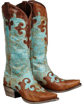 Lane Boots Dawson Cowgirl Boots - Snip Toe, Turquoise, hi-res