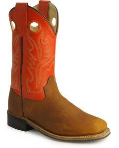 Old West Children's Copper Corona Calf Cowboy Boots - Square Toe, , hi-res