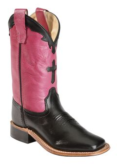 Old West Girls' Hot Pink Cross Inlay Cowgirl Boots - Square Toe, , hi-res