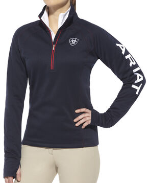 Ariat Women's Navy Tek Team 1/4 Zip Jacket , Navy, hi-res