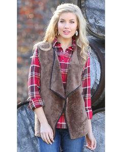 Wrangler Women's Fleece Faux Fur Vest, Brown, hi-res