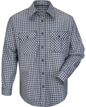 Bulwark Men's Navy Plaid Flame Resistant Uniform Shirt , Navy, hi-res