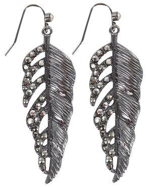 Shyanne Rhinestone Feather Earrings, Silver, hi-res