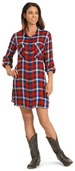 New Direction Women's Red and Blue Plaid Shirt Dress , , hi-res