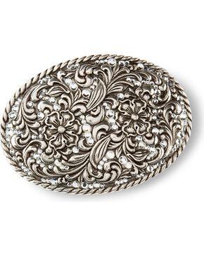 Nocona oval floral belt buckle, Silver, hi-res