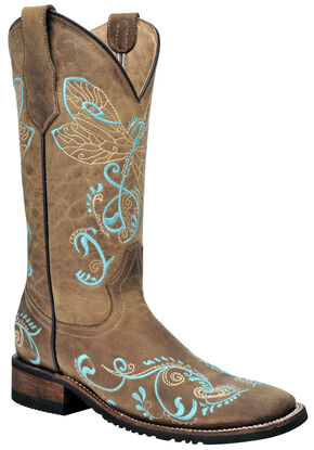 Corral Tan Dragonfly Cowgirl Boots - Square Toe  , Tan, hi-res
