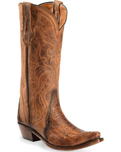 Lucchese Burnished Cognac Sasha Ostrich Leg Cowgirl Boots - Narrow Square Toe , , hi-res
