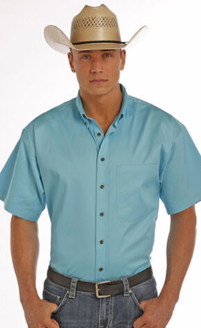 Panhandle Slim Men's Turquoise One Pocket Short Sleeve Shirt , Turquoise, hi-res