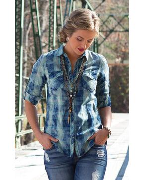 Ryan Michael Women's Indigo Boxed Plaid Shirt , Indigo, hi-res