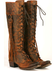 Junk Gypsy by Lane Women's Chili Brown Trailblazer Lace-Up Western Boots - Snip Toe , , hi-res