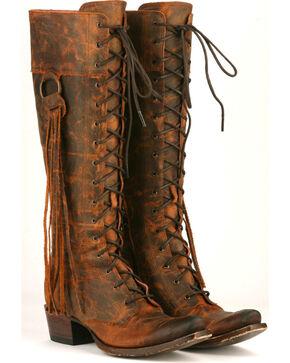 Lane Women's Chili Brown Trailblazer Lace-Up Western Boots - Snip Toe , Chili, hi-res