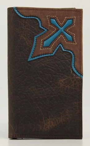 Nocona Cross Inlay Rodeo Wallet, Brown, hi-res