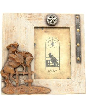 "Western Moments Rustic Bucking Horse Wooden Photo Frame - 5"" x 7"", Brown, hi-res"