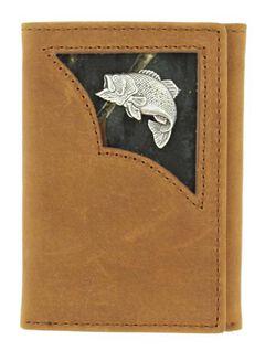 Nocona Camo Inlay w/ Bass Concho Tri-fold Wallet, , hi-res