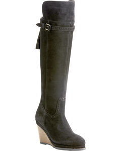 Ariat Women's Knoxville Black Suede Tall Wedge Boots - Round Toe, , hi-res