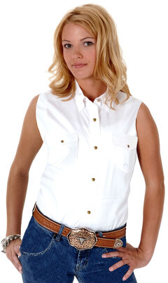 Roper Women's Stretch Poplin Sleeveless Shirt, , hi-res